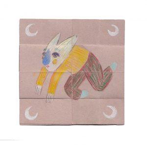 Flip card - colour pencil on paper, 10cm x 10cm